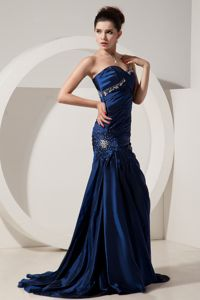 Ruched Beaded Royal Blue Formal Pageant Dress Online for Miss World