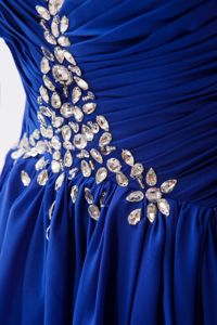 Sweetheart Neck Royal Blue Long Pageant Dress for Girls with Rhinestones