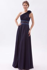 One Shoulder Ruched Beaded Pageant Dress for Miss America in Navy Blue