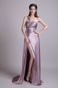 Unique One Shoulder Slitted Lavender Pageant Dresses for Miss America