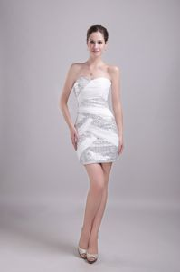Fitted Mini-length White Beauty Pageant Dresses with Sequins for Wholesale