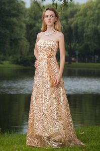 Shimmering Strapless Gold Dresses for Pageants in New Jersey with Paillette