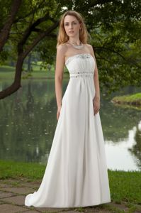 Strapless Beaded White Long Chiffon Pageant Dresses for Girls on Discount