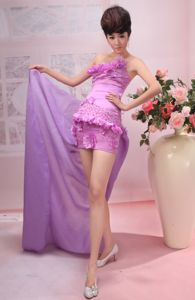 One Shoulder Short Lavender Pageant Dress for Miss World with Ruffled Hem