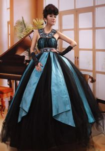 Newest Black And Aqua Blue Prom Pageant Dress in Florida with Beads