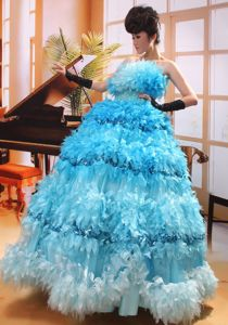 A-line Ruffled Beaded Aqua Blue Pageant Dresses for Girls in High Quality