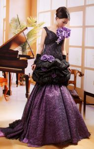Unique Black And Purple Pageant Dresses with Pick-ups And Flowers