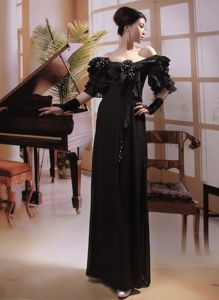Modest Off The Shoulder Black Long Beauty Pageant Dresses in New Jersey