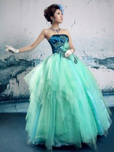 Turquoise And Teal Organza Taffeta A-line Pageant Dresses with Beads