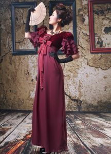Unique Empire Short Sleeves Burgundy Long Pageant Dresses Ankle-length