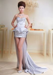 High-low Silver Beauty Pageant Dresses with Rhinestones in South Carolina