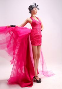 Halter Watteau Train Hot Pink Pageant Dresses for Girls with Paillette