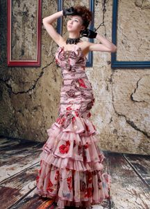 Mermaid Strapless Multi-Colored Layered Beaded Pageant Dresses for Miss World