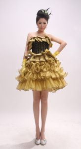 Gold Mini-Length Strapless Spaghetti Straps Girl Pageant Dress with Ruffled Layers
