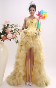 Sweetheart Spaghetti Straps Yellow High-Low Ruched Pageant Dress with Flowers