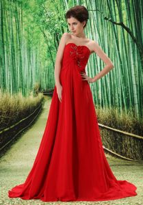 Red Sweetheart Brush Train Ruched Appliqued Pageant Dress with Hand-Made Flowers