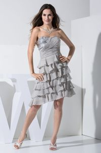 Gray Strapless Short-Length Layered Ruched Pageant Dress for Girl with Beading