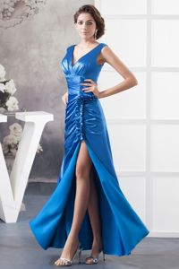 Royal Blue V-Neck Ruched Beaded Pageant Dresses with Slit and Flounce in Delta