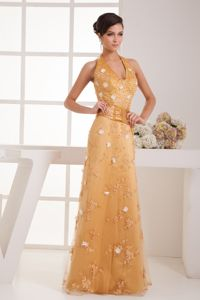Gold Halter Floor-Length Appliqued Pageant Dress with Belt and Flower in St. Albert