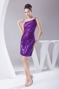 One-Shoulder Purple Short-Length Sequin Pageant Dresses with Satin Ribbons