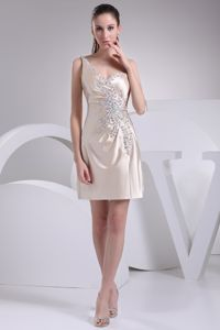 One-Shoulder Champagne Mini-Length Beaded interview Pageant Suits in Whitby