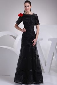 Black Mermaid Short Sleeves Ruched Celebrity Pageant Dresses with Red Flower