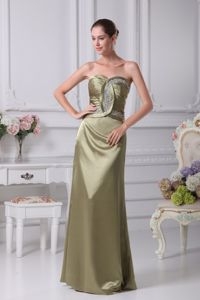 Olive Strapless Floor-Length Ruched Pageant Dress with Beading in Prince George