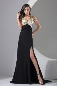 Beaded Brush Train Black Empire Beauty Pageant Dress with Slit and Cool Neckline