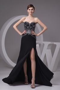 Black Brush Train Sweetheart Pageant Dress for Miss USA with Slit and Beading
