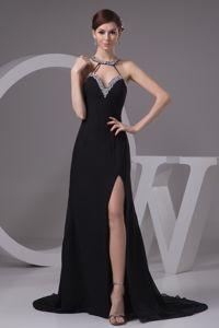 Jeweled Neckline Brush Train Black Pageant Dress with Slit and Criss Cross Back