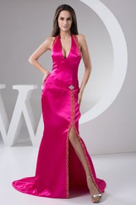 Fuchsia V-Neck Halter Brush Train Beaded Beauty Pageant Dress with Slit in Regina