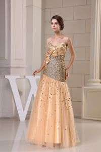Champagne Sweetheart Floor-Length Sequin Pageant Dress with Ruching and Bow