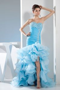 Sweetheart Blue High-Low Ruched Beaded Pageant Dress for Girls with Ruffles