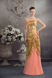 Strapless Floor-Length Gold Sequin Pageant Dress for Miss World with Flowers