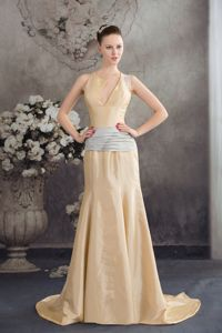 Asymmetrical-Shoulder Brush Train Light Yellow Pageant Dress with Gray Sash
