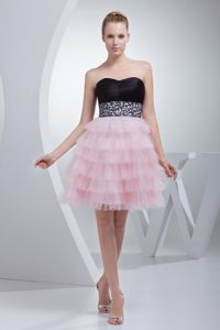 Mini-Length Strapless Layered Beaded Pageant Dress for Girl in Black and Pink
