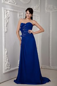 Royal Blue Strapless Brush Train Beaded Ruched Pageant Dresses with Flowers
