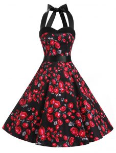 Red And Black Halter Top Zipper Sashes ribbons and Pattern Glitz Pageant Dress Sleeveless