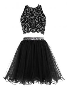 Fine Scoop Sleeveless Chiffon Mini Length Clasp Handle Pageant Dress Womens in Black with Beading