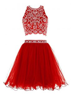 Flare Red Scoop Neckline Beading Pageant Dresses Sleeveless Clasp Handle