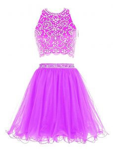 New Style Scoop Sleeveless Mini Length Beading Clasp Handle Pageant Gowns with Purple