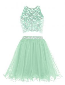 Halter Top Beading Pageant Dress Toddler Apple Green Clasp Handle Sleeveless Mini Length