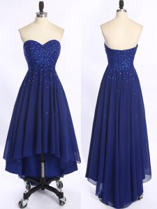 Spectacular Sleeveless Chiffon High Low Zipper Pageant Gowns in Royal Blue with Beading