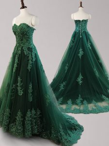 Sweetheart Sleeveless Pageant Dress for Teens Brush Train Beading and Appliques Dark Green Tulle