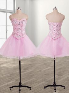 Sleeveless Mini Length Beading Lace Up Pageant Dress Wholesale with Baby Pink