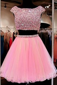 Cute Tulle Cap Sleeves Mini Length Pageant Gowns and Beading