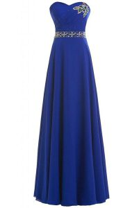 Artistic Sleeveless Lace Up Floor Length Beading Pageant Dress