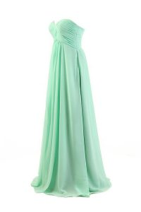 Pleated A-line Pageant Dress for Teens Apple Green Sweetheart Chiffon Sleeveless Floor Length Zipper