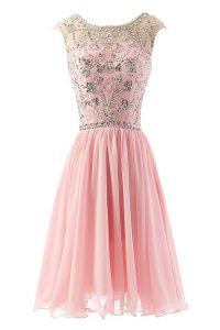 Scoop Tea Length Zipper Pageant Dress for Girls Pink for Prom and Party with Beading