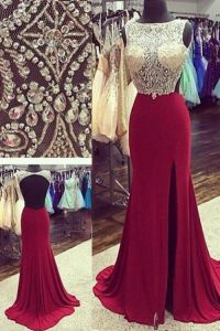 Admirable A-line Sleeveless Burgundy Pageant Dresses Brush Train Backless